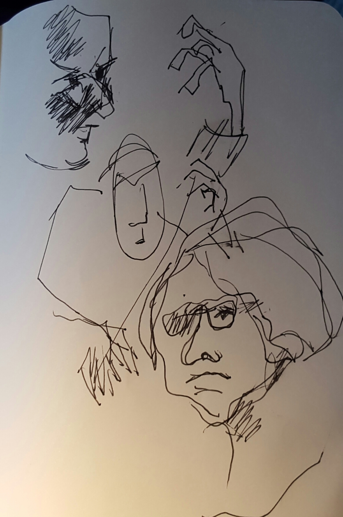 Sketch of musicians in jazz club