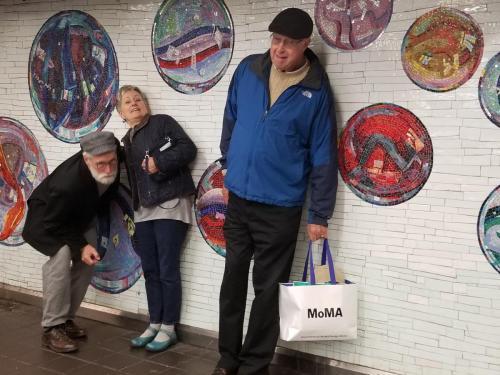Jim, Nancy and Frank and subway art