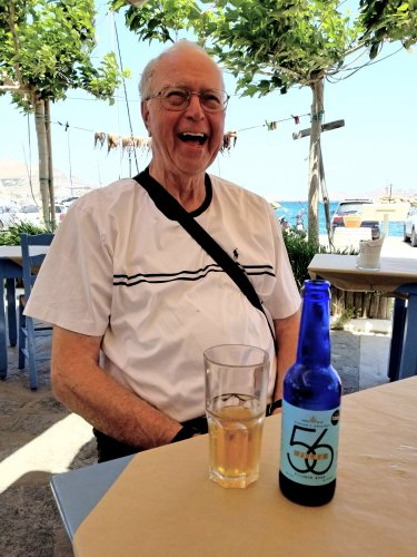 Drinking 56 Isles Beer makes you happy on the Island of Paros